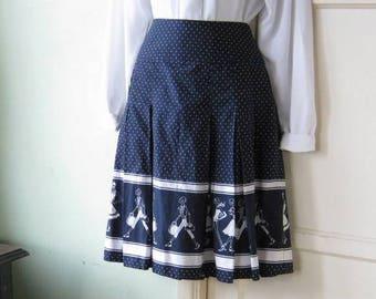 Adorable White/Navy Blue Print Pleated Full Skirt~Women's 8/Medium~Fashionista Graphic Print Navy Knee Length Cotton Skirt; Free Ship/U.S.
