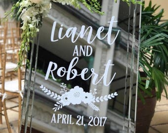 Rustic Wedding Decal Vinyl Decal for Wedding Chalkboard Personalized Wedding Day Decal Mr and Mrs Wedding Date Trendy Floral Boho Chic Decal