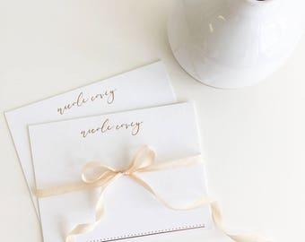 FOIL Stamped Stationery | Rose Gold Note Cards | Printed by Darby Cards
