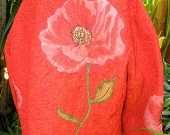 1/2 OFF 1990's Red Crinkle Flower Vintage Jacket, Flower Appliques,  Bright Red, L/S  sz Xl