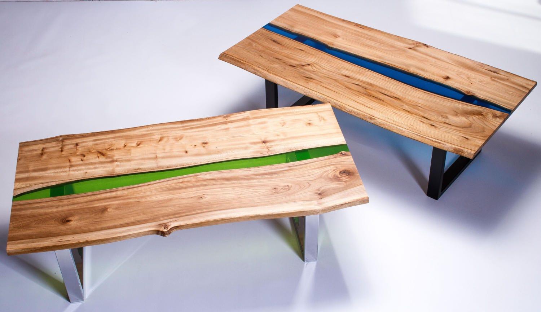 resin river coffee table handmade natural live edge elm wood
