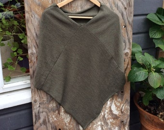 Shawl in soft green, woman's shawl, merino wool, Cape/ Poncho, gift for her, stole/ wrap made from recycled wool