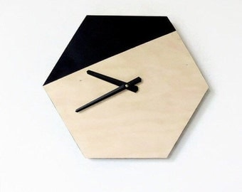 Wall Clock, Modern Hexagon Clock, Black and Wood Decir, Wood Clock, Home Decor, Home and Living, Wall