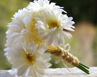 Small Shabby Chic Bouquet White and Yellow Gebera Daisy Fall