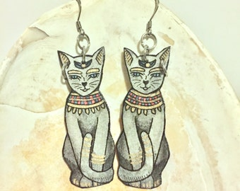 Black Cat Earrings Ancient Egyptian Mau Hand Painted Watercolor