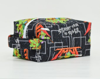 TMNT (Teenage Mutant Ninja Turtle) Quilted Cosmetic & Toy Storage Bag with Handle, Boxy Pouch; Black