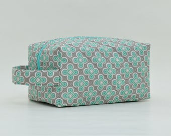 Geometric Pattern Quilted Cosmetic Bag with Handle, Boxy Pouch; Grey & Aqua/Teal Boxy Bag; Make-Up Bag; Travel Bag; Shave Bag; Mother's Day