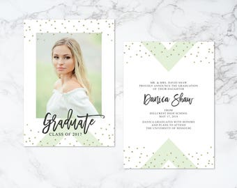 Printable Double Sided Modern Arrow and Glitter Confetti Brush Script Graduation Photo Card Invitation or Announcement