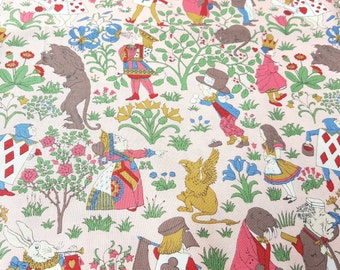 Alice in Wonderland fabric in pink, printed by YUWA, Alice, white rabbit, Queen of Hearts, Mad Hatter, Cheshire Cat, children book, tales