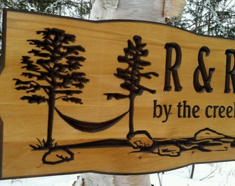 Hammock and trees Retreat  camp or cabin sign Rustic carved Cedar