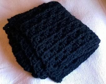 SALE Black Super Chunky Crochet Throw