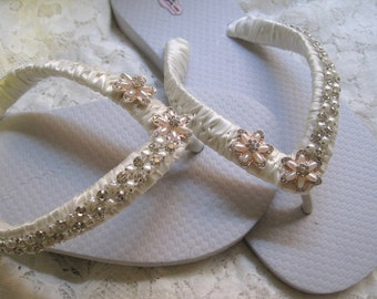 Flip Flops Bridal Wedding Ivory French Knotted with Pearl and Rhinestone Trim and Accents Bridal Sandals Wedding Beach Sandals Accessories