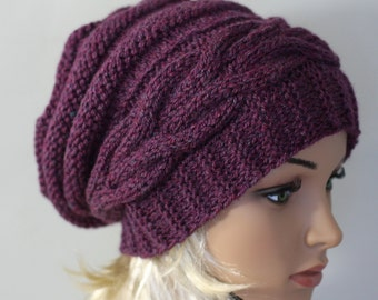 Slouchy Knitted Hat Large Women. Knit slouchy Beanie hat. Large hat  . Chunky Knit Winter.Accessories Oversized Hat