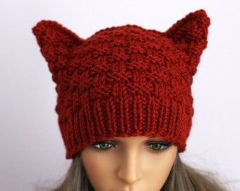 Hat Cat.Ladies beanie ''Russet Cat''! Hand knitted, seamless.Knit black Hat Cat Ears Hat Cat