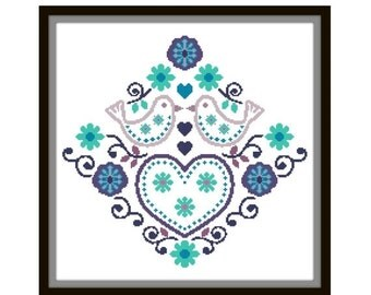 HALF OFF STOCK Up Sale Folk Art Cross Stitch Pattern - Scandinavian Cross Stitch Pdf - Floral Cross Stitch Pattern - Bird Cross Stitch Patt