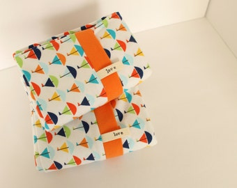 Sailboats Pillowcases Flannel Nautical Orange Blue Flags Lake Seaside Michigan Cottage Bedding Pillows
