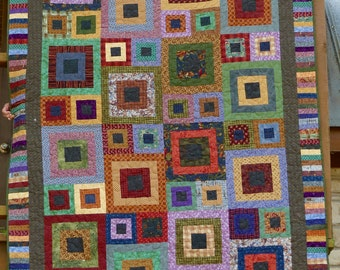 Modern Twin Scrappy Patchwork Geometric Contemporary Quilt 62 by 87 Inches