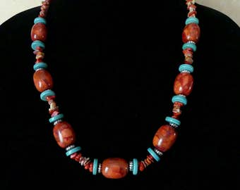 24 Inch Southwestern Red Sponge Coral, Turquoise, and Spiny Oyster Necklace with Earrings
