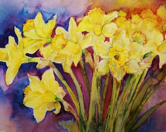 Daffodil flower painting- Watercolor original spring flowers REDUCED