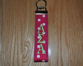 Alpha Sigma Alpha Sorority Keychain- Hot Pink Webbing Pink & White Dots Ribbon, Lime Monogrammed KeyFob Wristlet(OFFICIAL LICENSED PRODUCT)