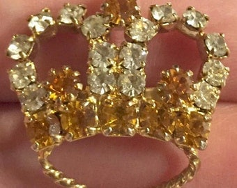 Amber Glass Rhinestone Crown Brooch 1960s Vintage Jewelry, FALL SALE