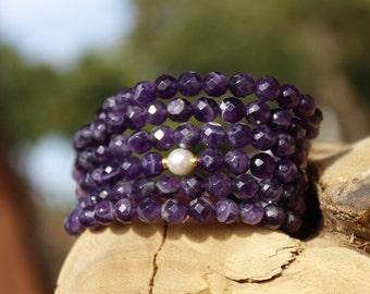 Amethyst Bracelet, multistrand  bracelet, faceted beads, pearls, cuff bracelet, amethyst stones, gold beads,  faceted gemstone, purples