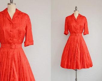 Vintage 50s Silk Dress / 1950s Dynasty Red Silk Jacquard Shirt Dress Full Pleated Skirt with Belt