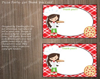 Pizza Party Thank You Note Cards ~INSTANT DOWNLOAD~