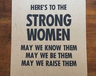 Strong Women Letterpress Print
