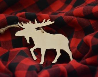 "3.5"" Moose Ornament, Christmas Ornament, Rustic Ornaments, Rustic Christmas Ornaments, Wooden Christmas Ornaments, Christmas Tree Ornaments"