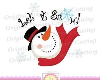 Let it Snow SVG eps jpg png,Christmas Snowman, Snowman Silhouette Cut Files, Cricut Cut Files CHSVG23 -Personal and Commercial Use
