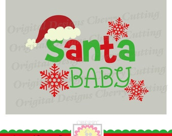Santa Baby SVG dxf, Santa Baby with snowflakes, Christmas Baby Silhouette Cut Files, Cricut Cut Files CHSVG23-Personal and Commercial Use