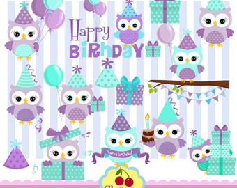 Purple and teal owl birthday set, Birthday Owls,Birthday Digital Clipart Set-Personal and Commercial Use