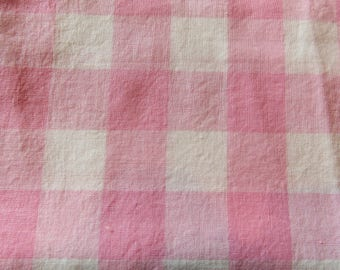 pink plaid vintage cotton fabric -- 35 wide by 1 1/2 yards