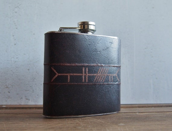 Personalised Ogham Leather flask, Hand Engraved Celtic Leather hip flask, personalized rune flask, celtic tree alphabet hip flask pagan gift