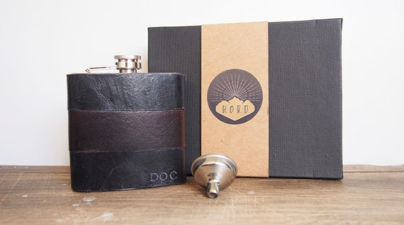 Personalised Leather Flask, black and brown leather hip flask, genuine leather,  personalized leather flask