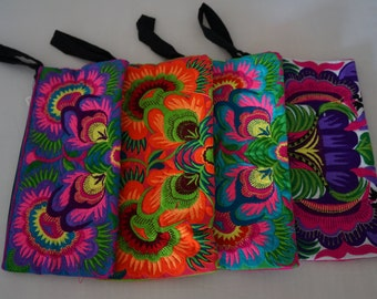 Hmong Hill Tribal Textile Embroidered Colorful Floral Boho Gypsy Clutch