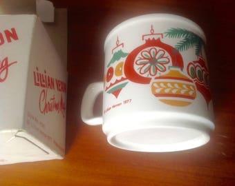 Vintage Lillian Vernon ceramic Christmas mug 1977 coffee cup Ireland