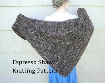 Espresso Shawl PDF Knitting Pattern, Easy Knit, Worsted Yarn, Prayer Shawl, Cozy Wrap, Garter Stitch Eyelets