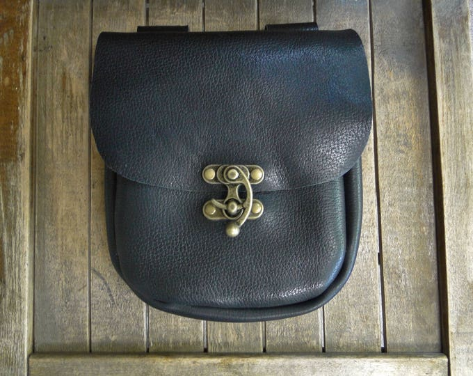 Medieval Leather Pouch, Renaissance Bag, Heavy Black Leather, Antique Brass Swing Clasp, Large