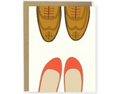 Love Card - Red Flats & Wingtips Shoe Card, Shoe Love Card, Anniversary Card, Valentine Card