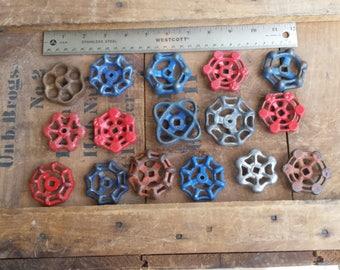 Assemblage of 16 Vintage Gate Valve Handles - Industrial Steampunk Repurpose