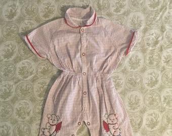 Vintage Baby Boy Cotton Romper  Size 9 to 12 Months