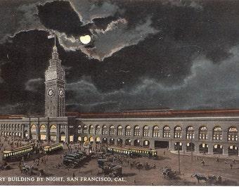 Vintage Postcard....California, San Francisco- The Ferry Building by Night...Unused..no. CA0017