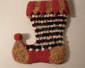 Mackenzie-Child Traditional Black, White, Red, Gold Beaded Christmas Stocking Ornament. Hand sewn beads with Bells and Pom Pom. Retired.