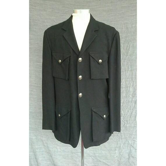 Vintage 1980s Versace Jeans Couture Men's Black Linen Jacket Medusa Italy Military