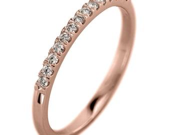 14k Rose Gold Half Eternity White Diamond Wedding Band, Half Round Style