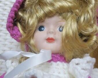 "DOLL...Hand crocheted Pink dress 17"" tall"