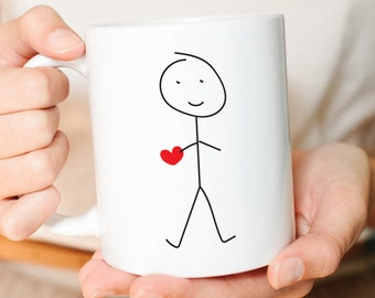 Youre My Person, Best Friend Gift, Anniversary Gift,Husband Gift, Boyfriend Gift, Coffee Mug, Heart Mug, Stick Figures, Mug Set, Mug
