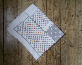 1970s vintage decor table cloth Spotted polka dot pattern square grey yellow and green Dolly Topsy Etsy UK